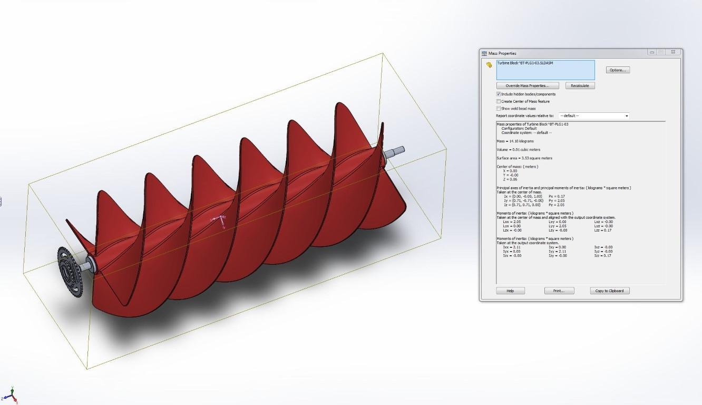 Mass Properties turbine mini modela u SolidWorks-u (Medium)
